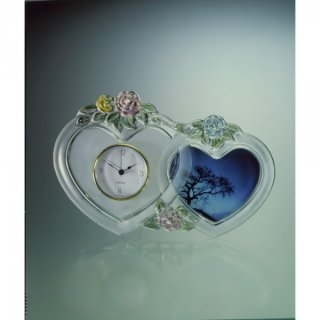 Walther Glas Love Story Uhr 2 Herzen Color