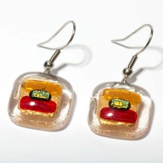 Rozetta Glas Schmuck Ohrringe rot orange 2er Set