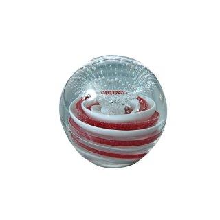 Glaskugel Briefbeschwerer Traumkugel rote Spirale nachtleuchtend 6cm
